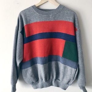 Color Block 90's Vintage Crew Pullover